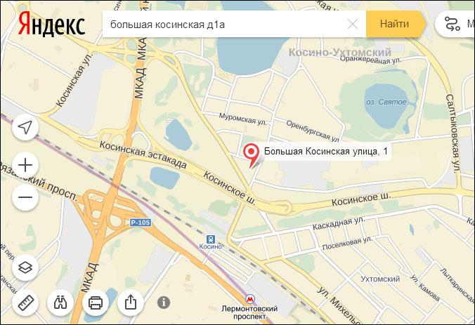 схема проезда овд района Косино-Ухтомский